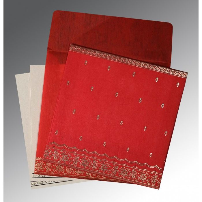 Red Wooly Foil Stamped Wedding Card : CC-8242A - IndianWeddingCards