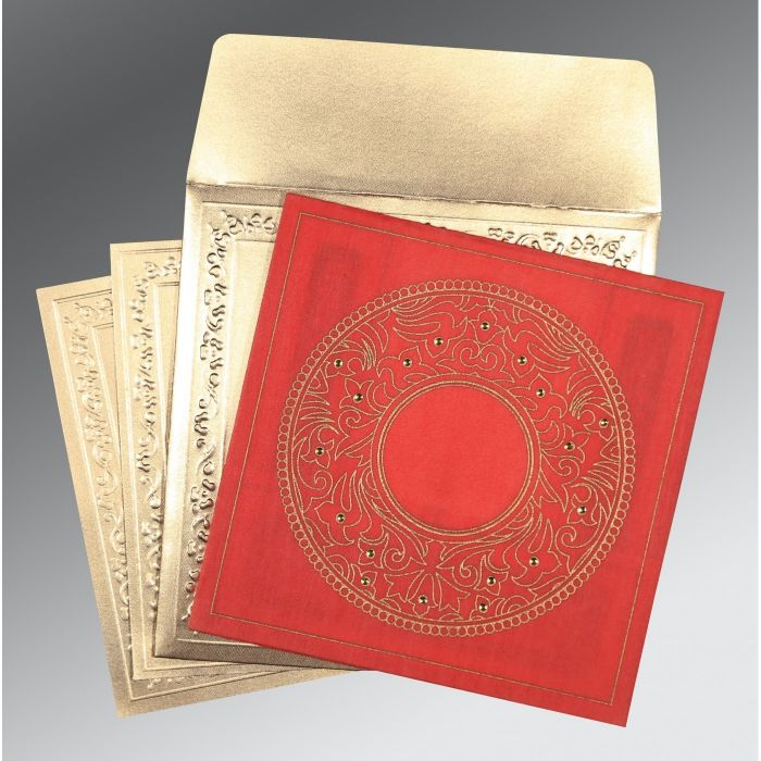 Red Wooly Screen Printed Wedding Card : CD-8214G - IndianWeddingCards