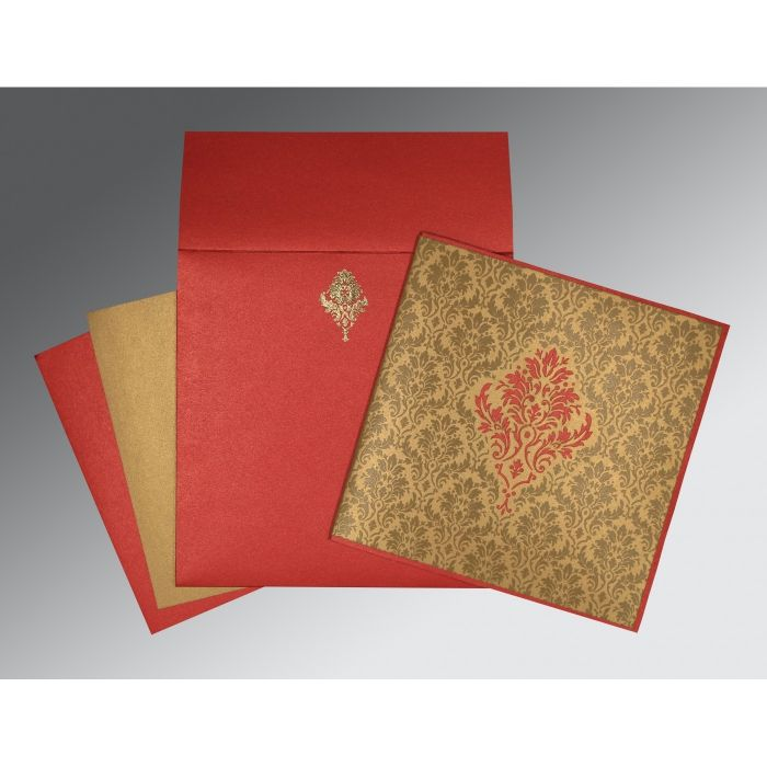 GOLD RED SHIMMERY DAMASK THEMED - LASER CUT WEDDING INVITATION : CC-1494 - IndianWeddingCards