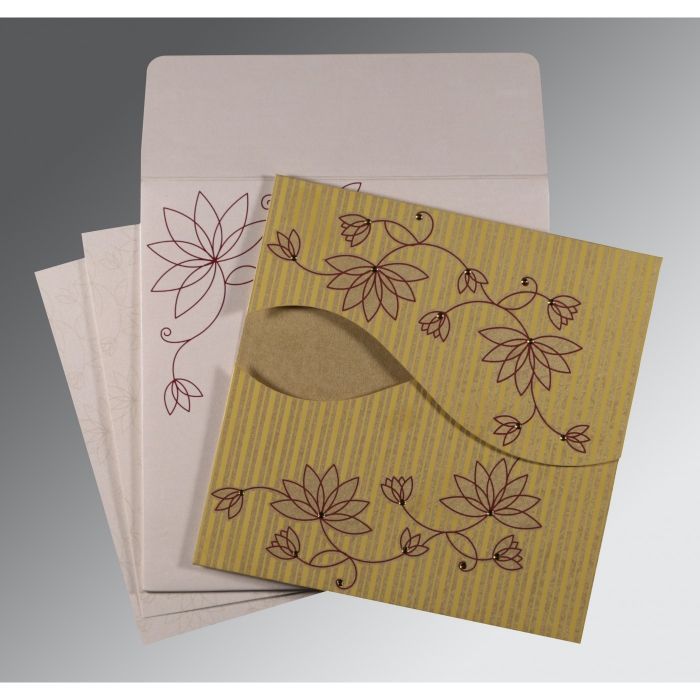 GOLD SHIMMERY FLORAL THEMED - SCREEN PRINTED WEDDING INVITATION : CSO-8251E - IndianWeddingCards