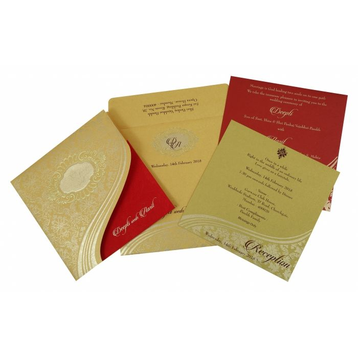 YELLOW GOLD SHIMMERY FOIL STAMPED WEDDING INVITATION : CW-1798 - IndianWeddingCards
