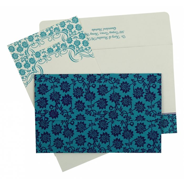 TURQUOISE MATTE FLORAL THEMED - SCREEN PRINTED WEDDING INVITATION : CC-810E - IndianWeddingCards
