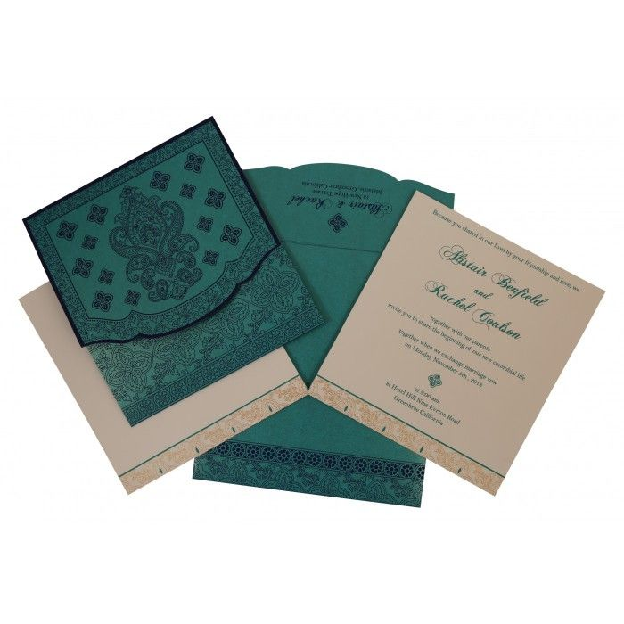 TURQUOISE SHIMMERY SCREEN PRINTED WEDDING INVITATION : CIN-800D - IndianWeddingCards