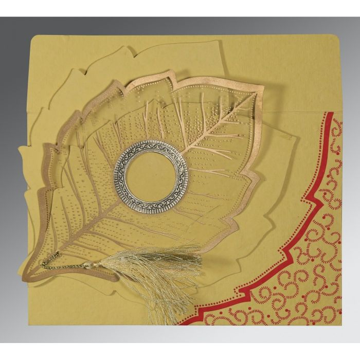 MUSTARD YELLOW HANDMADE COTTON FLORAL THEMED - FOIL STAMPED WEDDING CARD : CIN-8219G - IndianWeddingCards