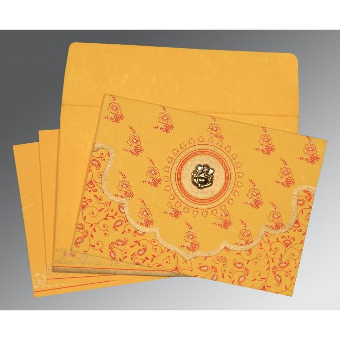 Yellow Handmade Silk Screen Printed Wedding Invitation : CIN-8207O - IndianWeddingCards