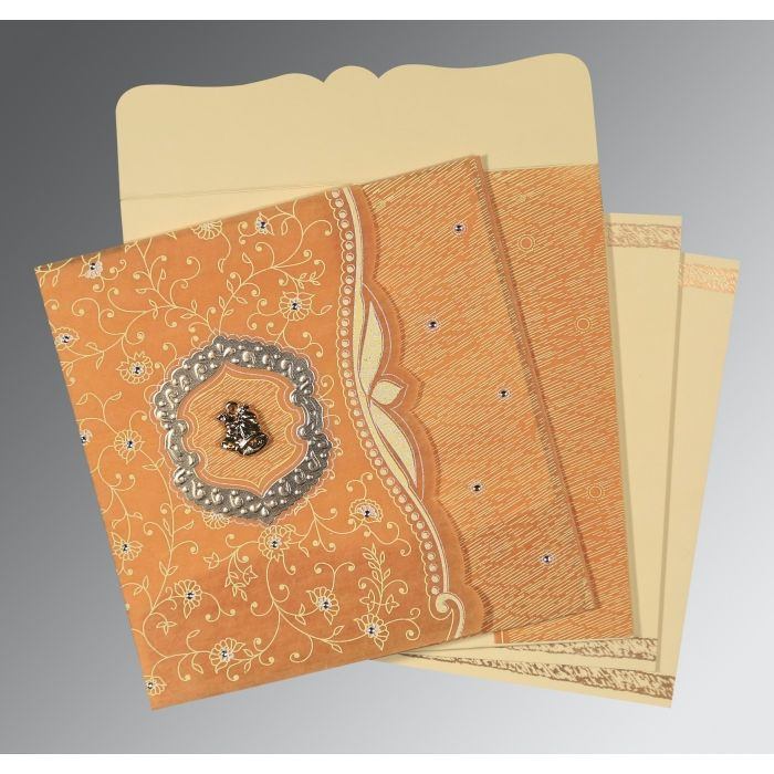 MANGO YELLOW SHIMMERY FLORAL THEMED - EMBOSSED WEDDING CARD : CC-8209B - IndianWeddingCards