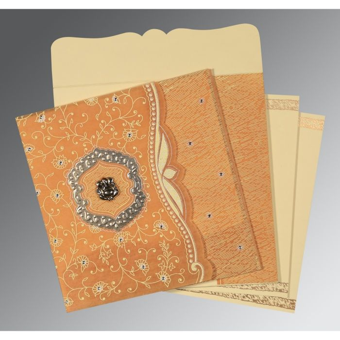 Yellow Wooly Floral Themed - Embossed Wedding Card : CW-8209B - IndianWeddingCards