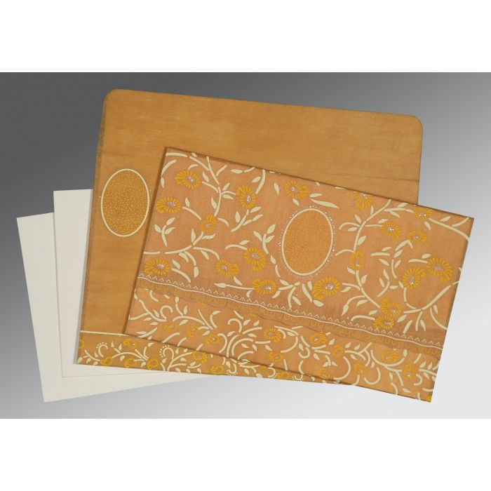 MUSTARD YELLOW WOOLY FLORAL THEMED - GLITTER WEDDING CARD : CD-8206H - IndianWeddingCards