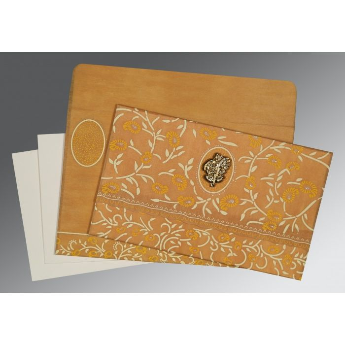 Yellow Wooly Floral Themed - Glitter Wedding Card : CI-8206H - IndianWeddingCards