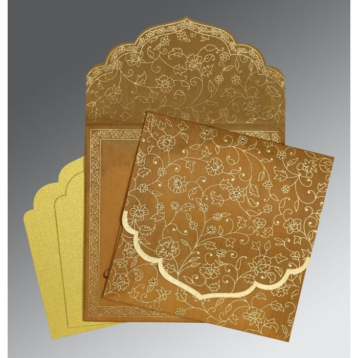 SATIN GOLD WOOLY FLORAL THEMED - SCREEN PRINTED WEDDING INVITATION : CC-8211E - IndianWeddingCards