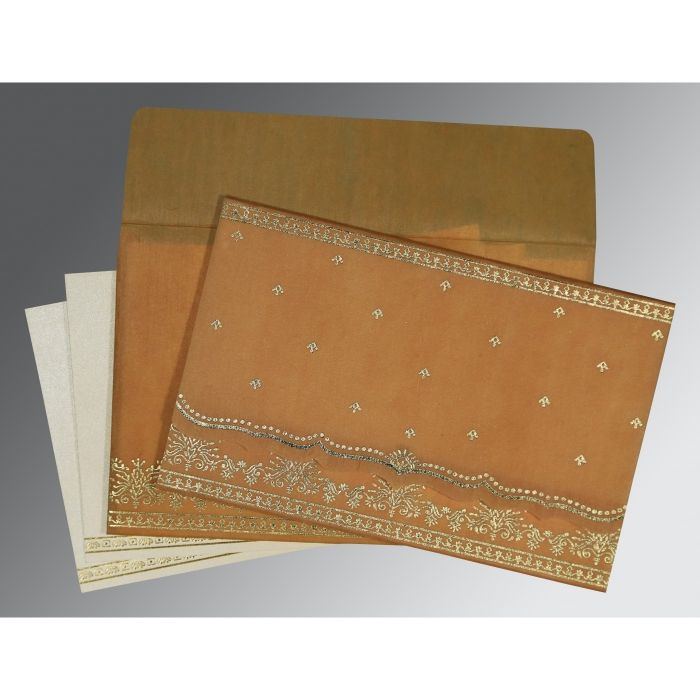 CHAMOISEE WOOLY FOIL STAMPED WEDDING INVITATION : CW-8241J - IndianWeddingCards