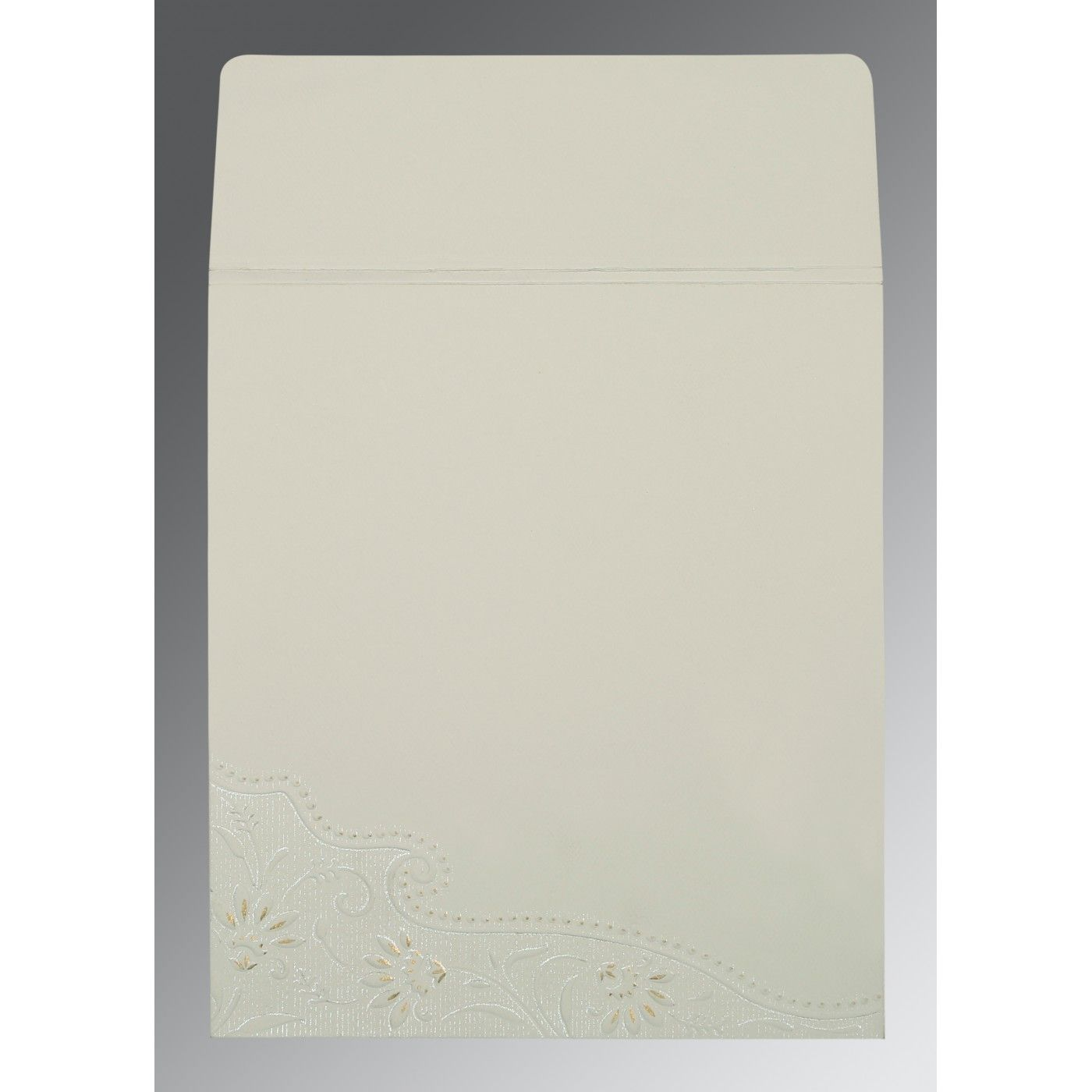 OFF-WHITE MATTE BOX THEMED - FOIL STAMPED WEDDING CARD : CRU-1228 - IndianWeddingCards