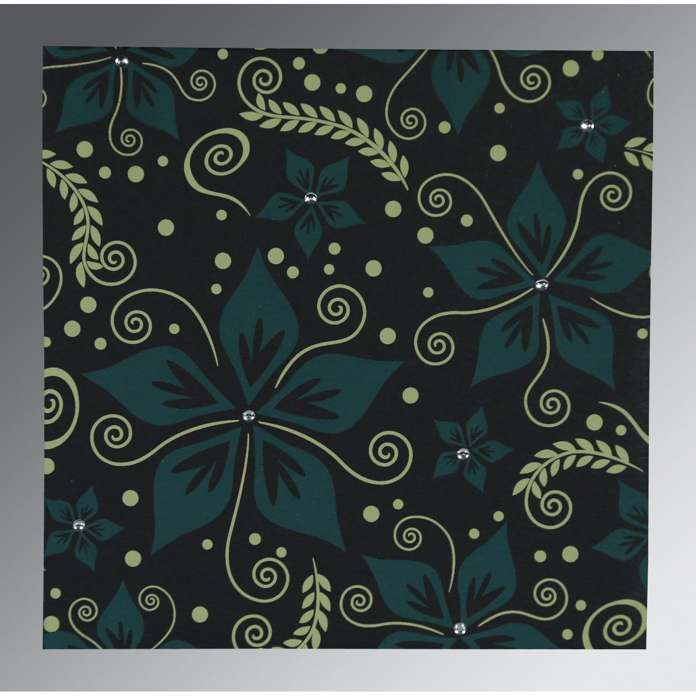 BLACK MATTE FLORAL THEMED - SCREEN PRINTED WEDDING INVITATION : CSO-8240A - IndianWeddingCards