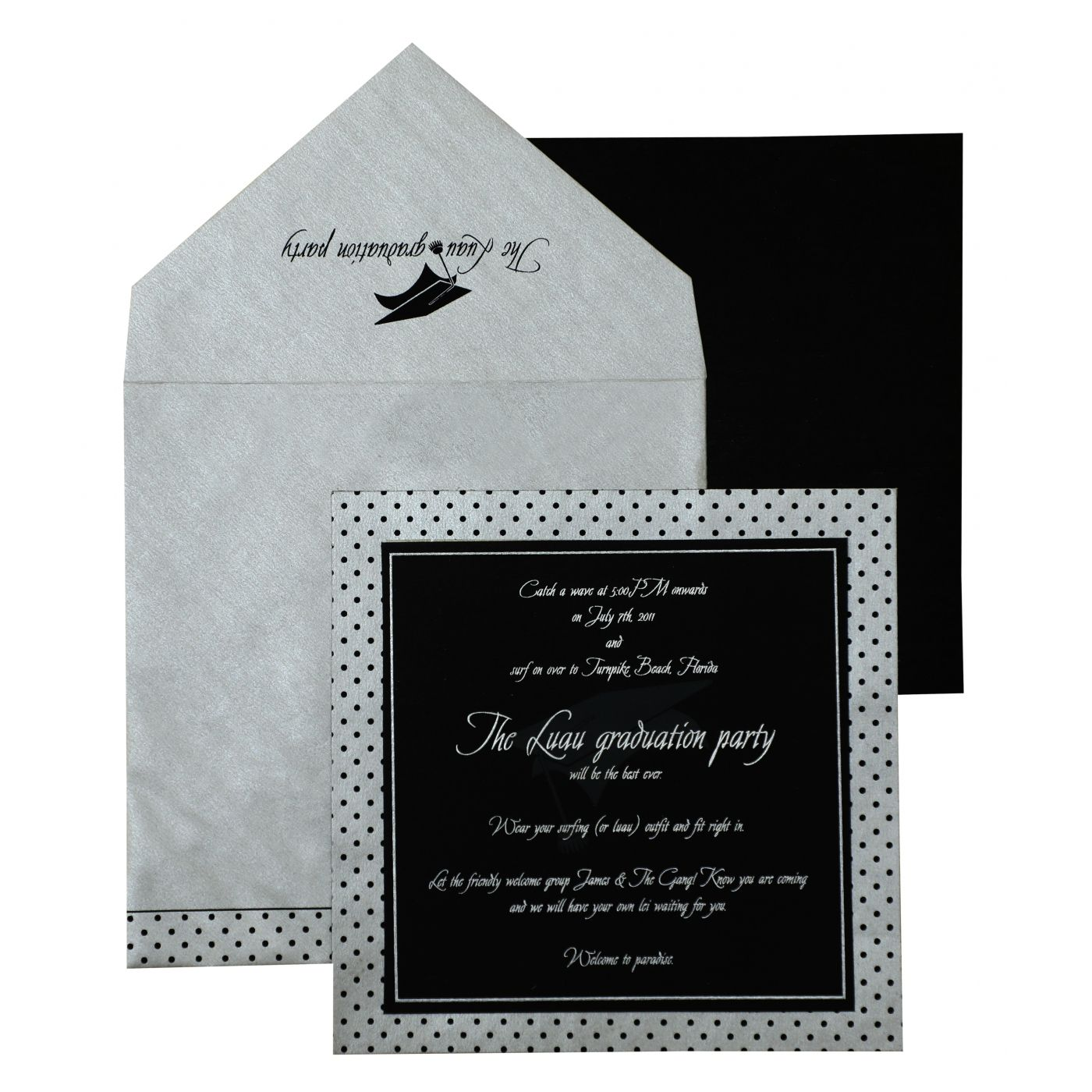 BLACK SILVER MATTE UNIQUE THEMED - SCREEN PRINTED PARTY CARDS : CPY-892 - IndianWeddingCards