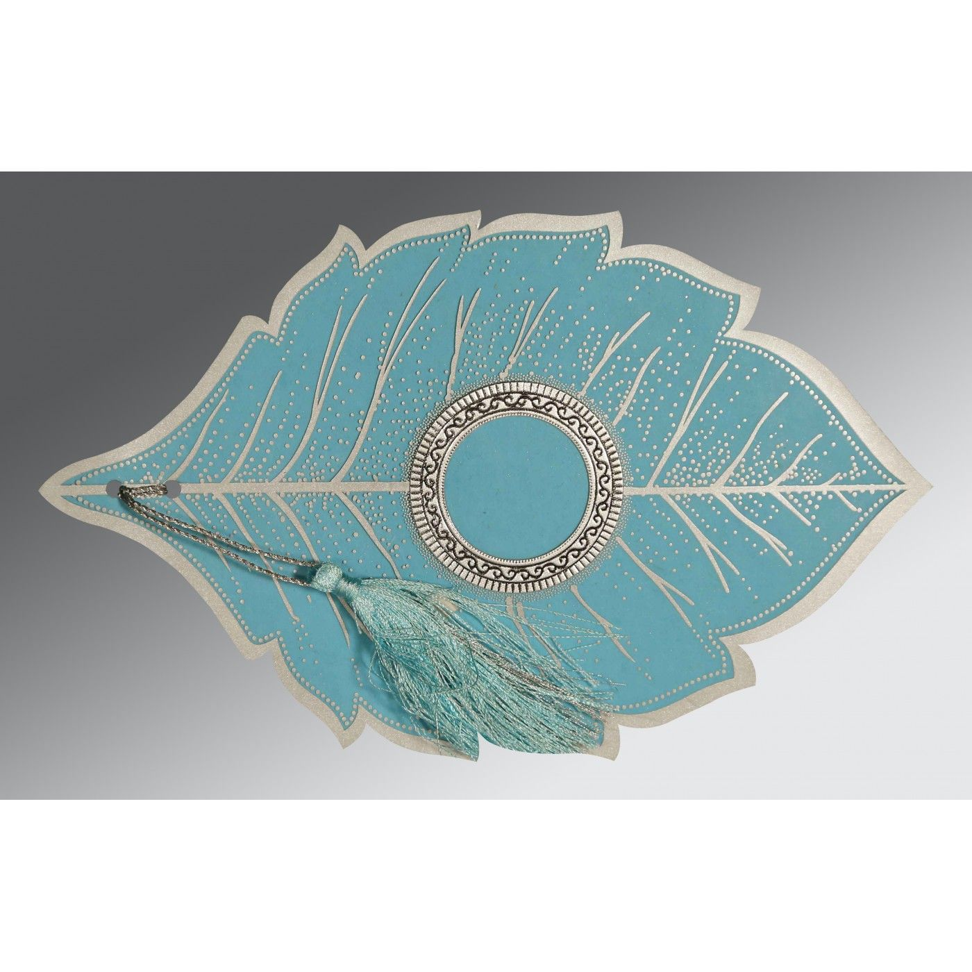 TURQUOISE HANDMADE COTTON FLORAL THEMED - FOIL STAMPED WEDDING CARD : CIN-8219P - IndianWeddingCards