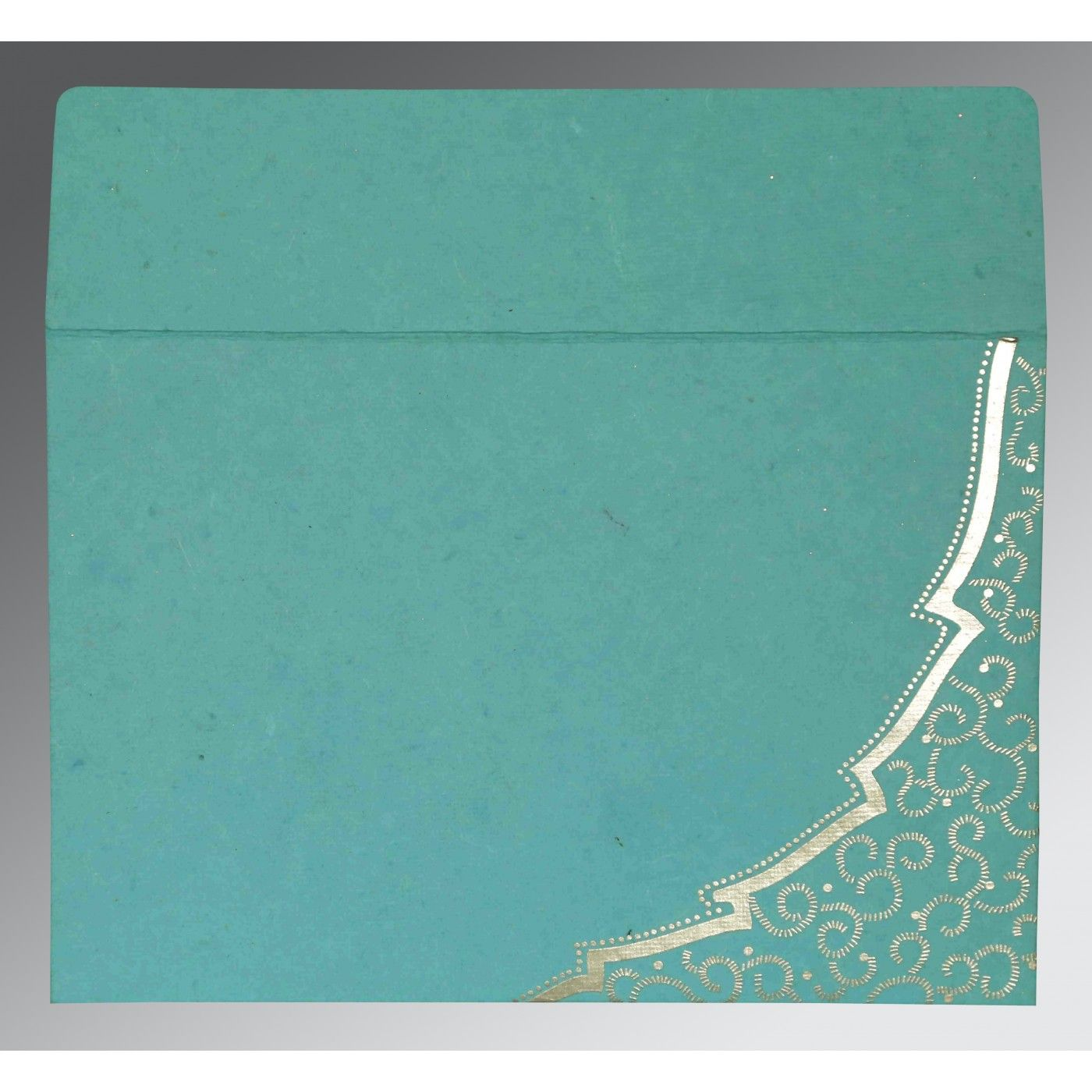 TURQUOISE HANDMADE COTTON FLORAL THEMED - FOIL STAMPED WEDDING CARD : CW-8219P - IndianWeddingCards