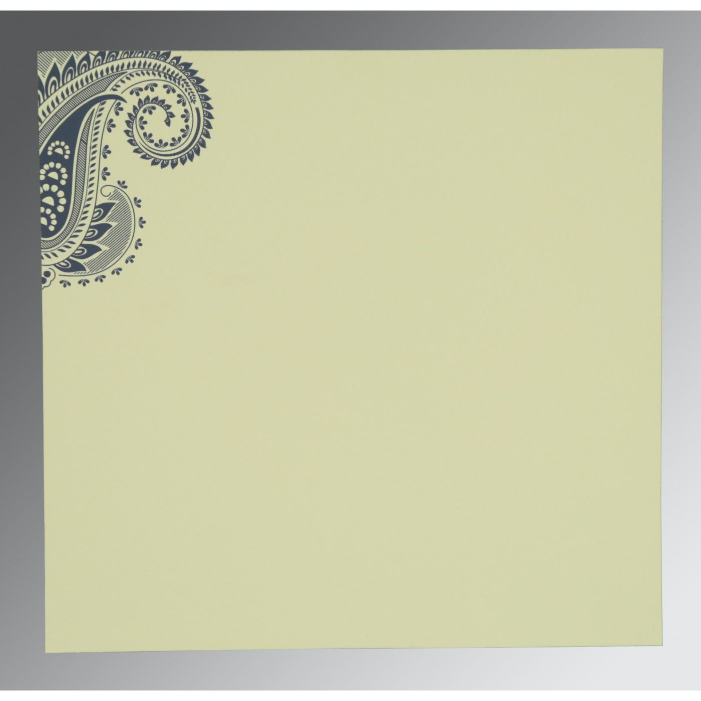 TEAL BLUE MATTE PAISLEY THEMED - SCREEN PRINTED WEDDING CARD : CW-8250E - IndianWeddingCards