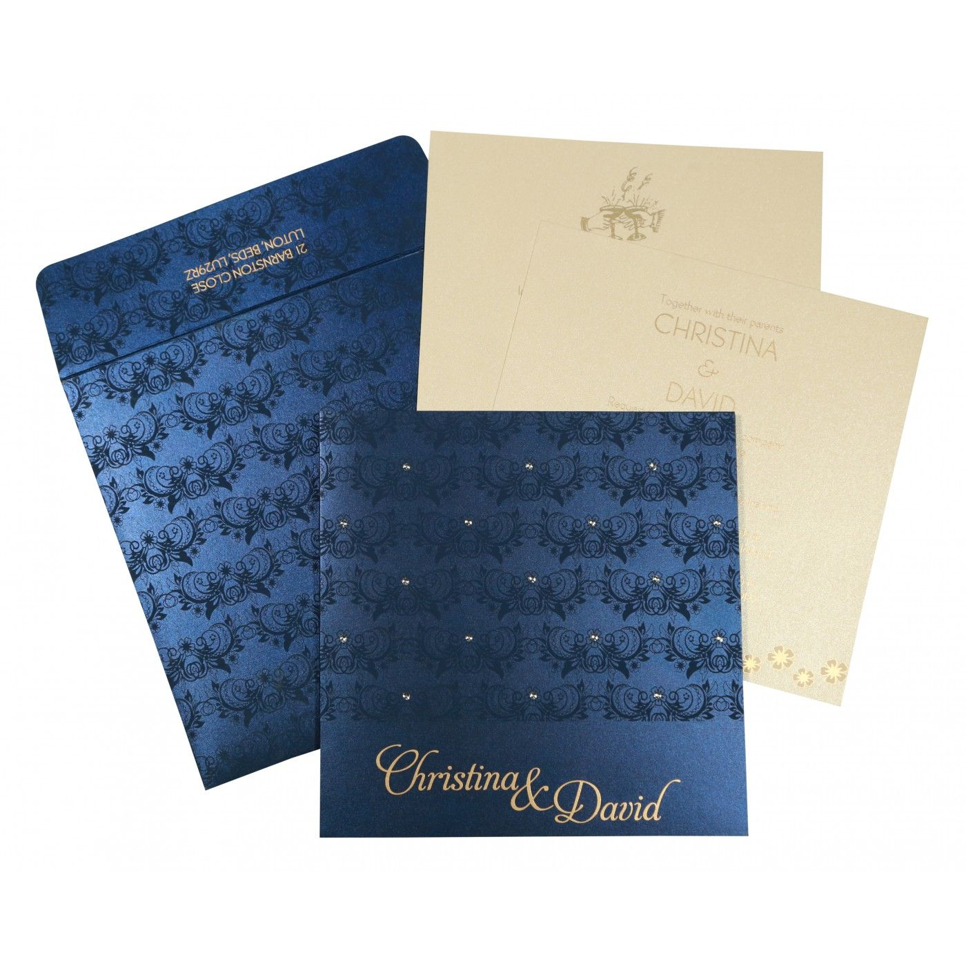 COBALT BLUE SHIMMERY BUTTERFLY THEMED - SCREEN PRINTED WEDDING CARD : CS-8258A - IndianWeddingCards