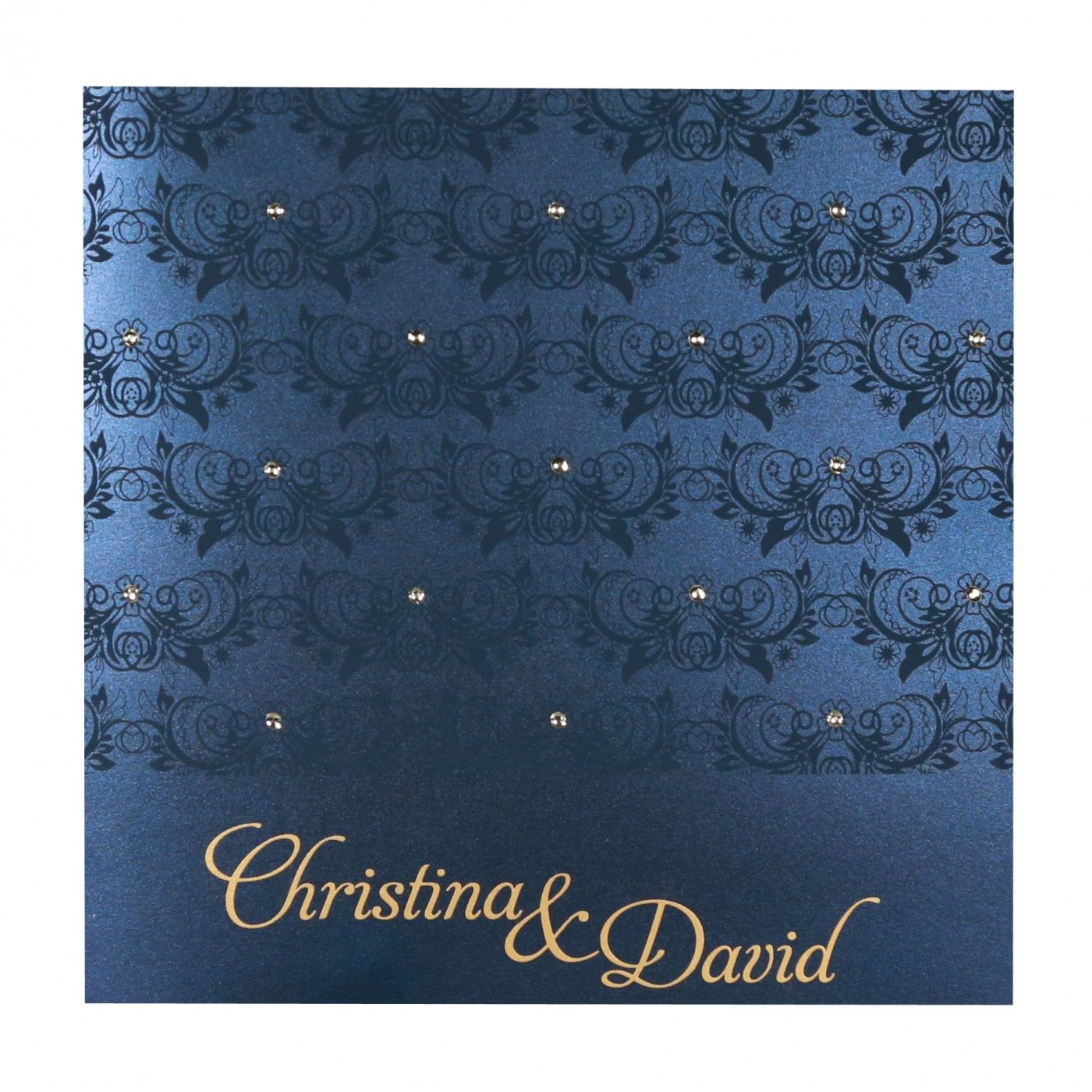 COBALT BLUE SHIMMERY BUTTERFLY THEMED - SCREEN PRINTED WEDDING CARD : CSO-8258A - IndianWeddingCards