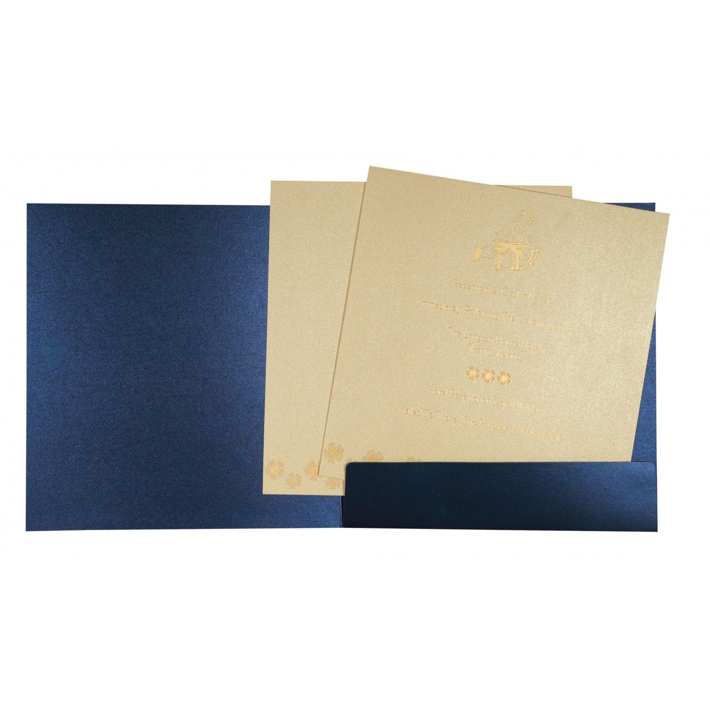 COBALT BLUE SHIMMERY BUTTERFLY THEMED - SCREEN PRINTED WEDDING CARD : CW-8258A - IndianWeddingCards