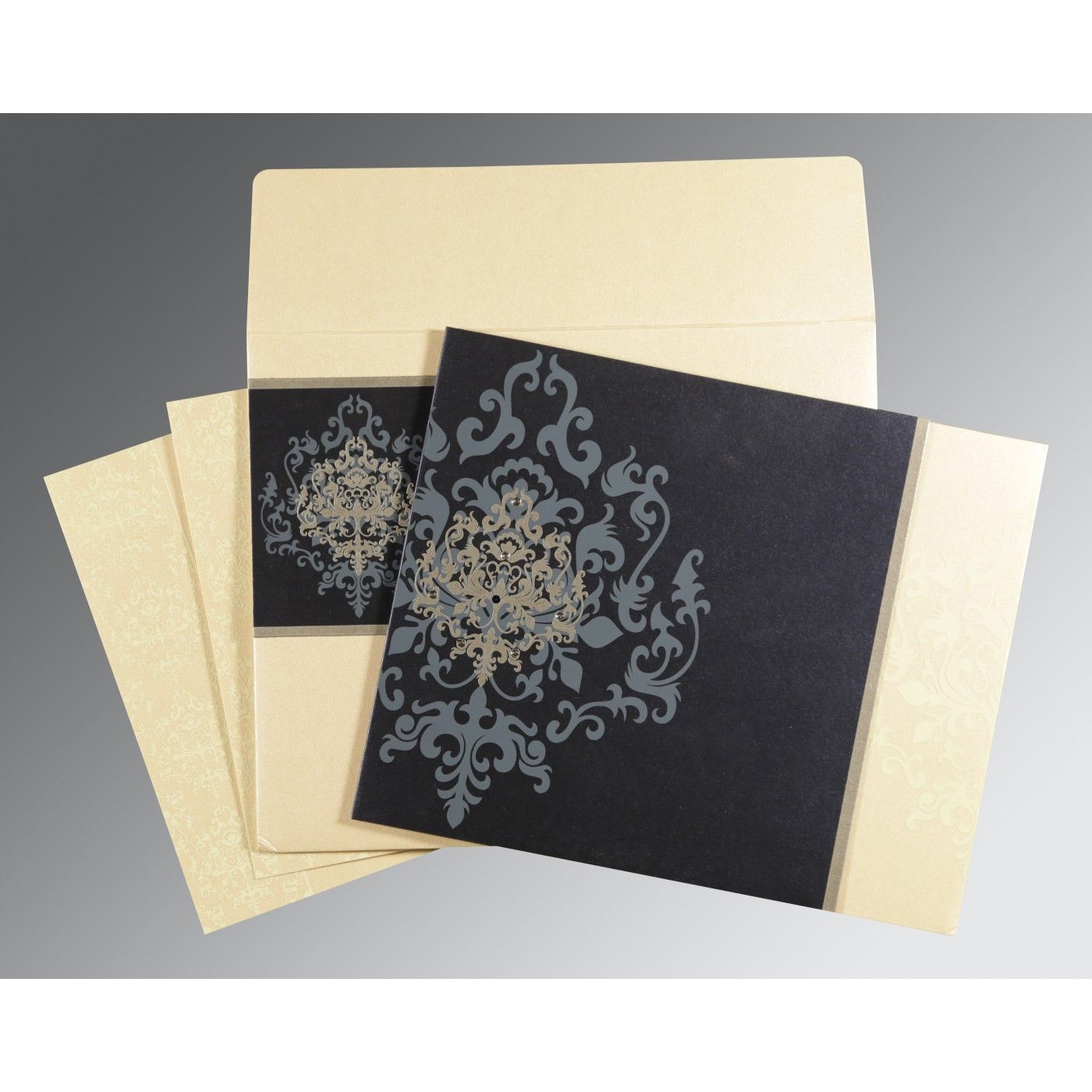 IVORY BLUE SHIMMERY DAMASK THEMED - SCREEN PRINTED WEDDING CARD : CD-8253D - IndianWeddingCards