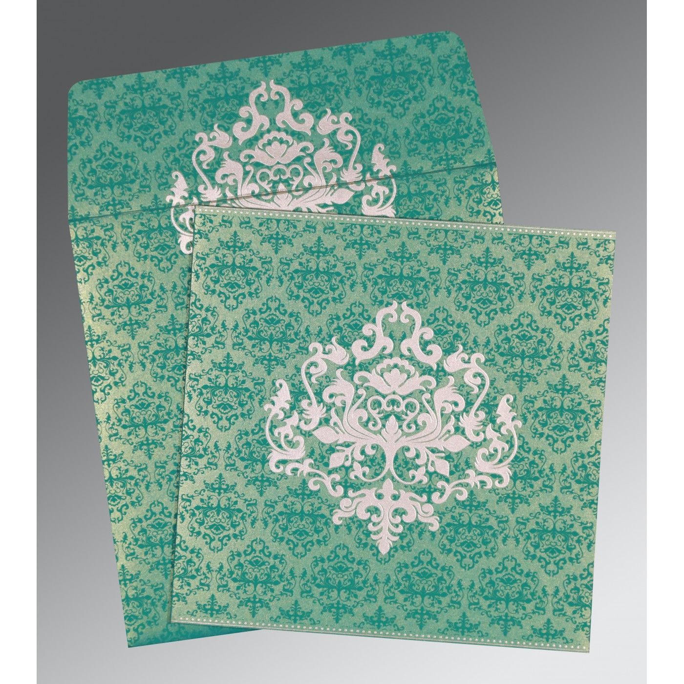 TURQUOISE SHIMMERY DAMASK THEMED - SCREEN PRINTED WEDDING CARD : CW-8254E - IndianWeddingCards