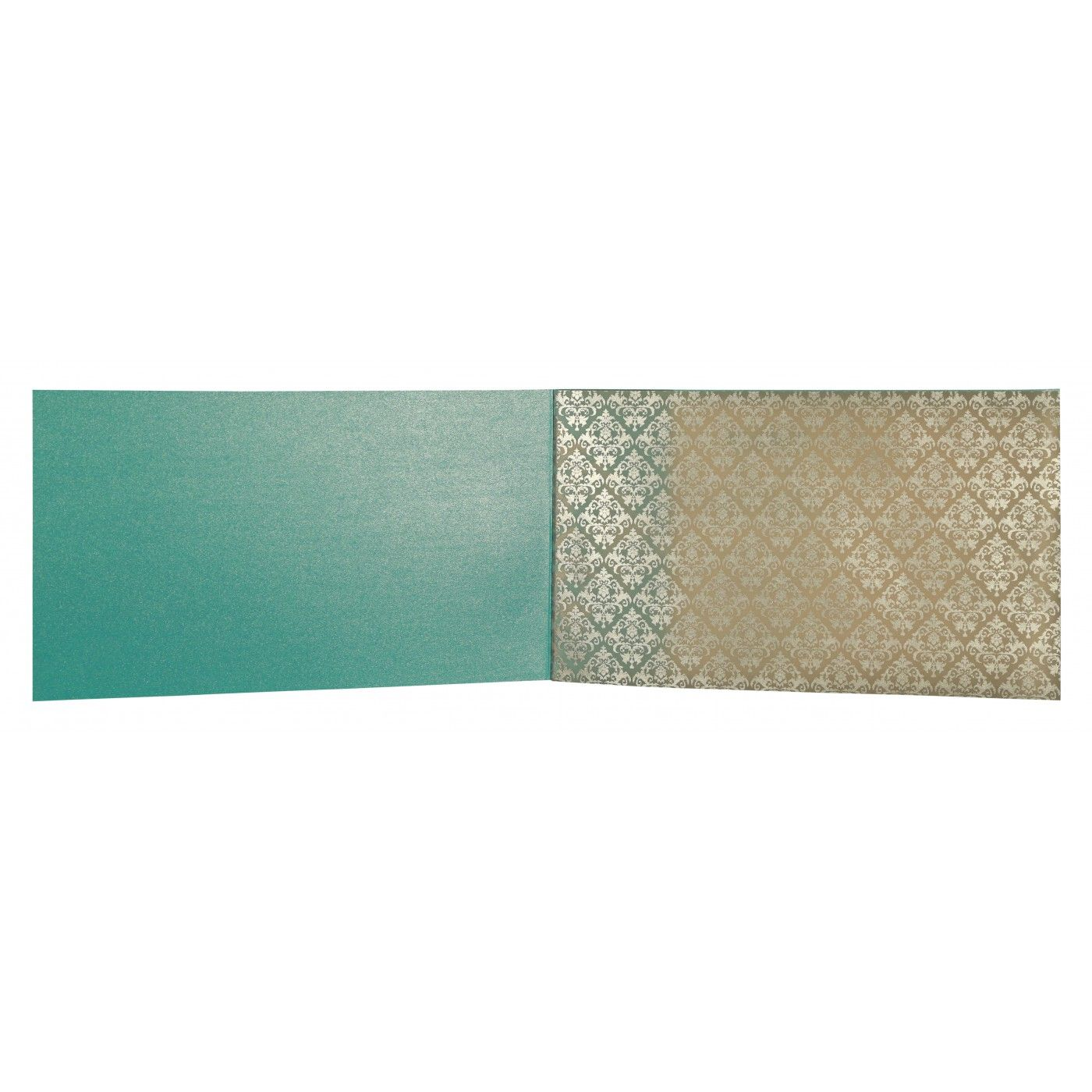 TURQUOISE SHIMMERY DAMASK THEMED - SCREEN PRINTED WEDDING CARD : CW-8257E - IndianWeddingCards