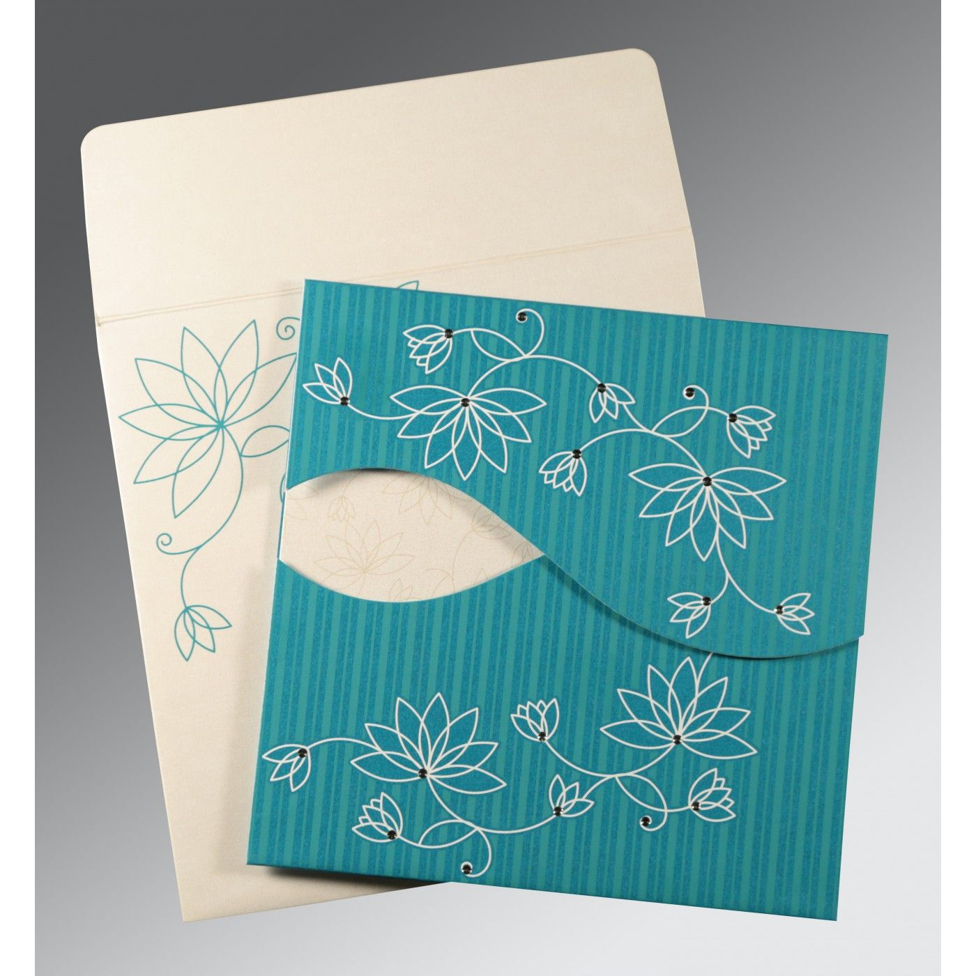 TURQUOISE SHIMMERY FLORAL THEMED - SCREEN PRINTED WEDDING INVITATION : CRU-8251G - IndianWeddingCards