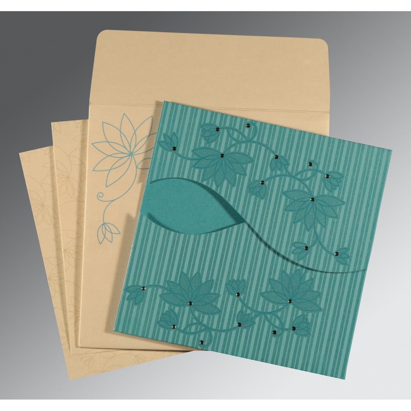 TURQUOISE SHIMMERY FLORAL THEMED - SCREEN PRINTED WEDDING INVITATION : CS-8251A - IndianWeddingCards