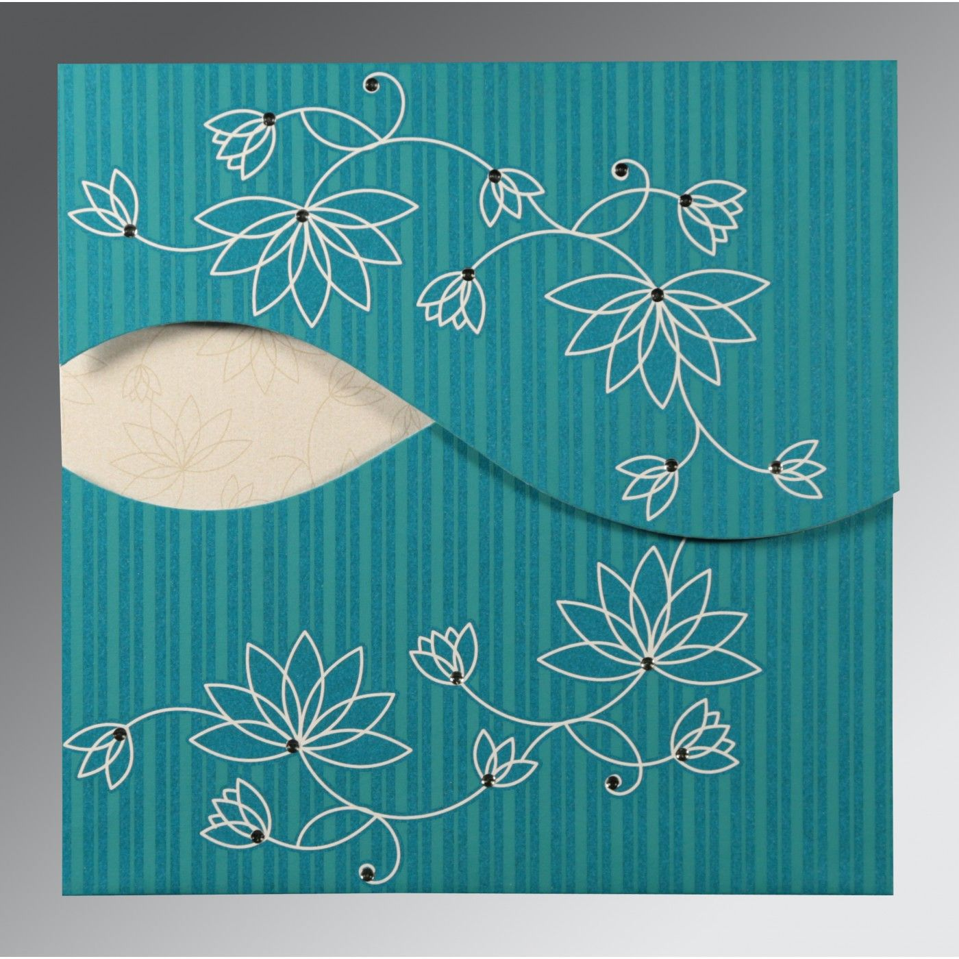 TURQUOISE SHIMMERY FLORAL THEMED - SCREEN PRINTED WEDDING INVITATION : CSO-8251G - IndianWeddingCards