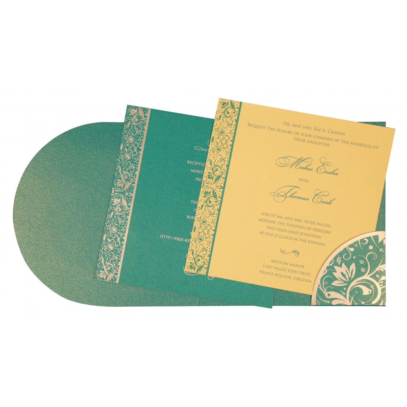 STRONG TURQUOISE SHIMMERY PAISLEY THEMED - SCREEN PRINTED WEDDING CARD : CRU-8264C - IndianWeddingCards