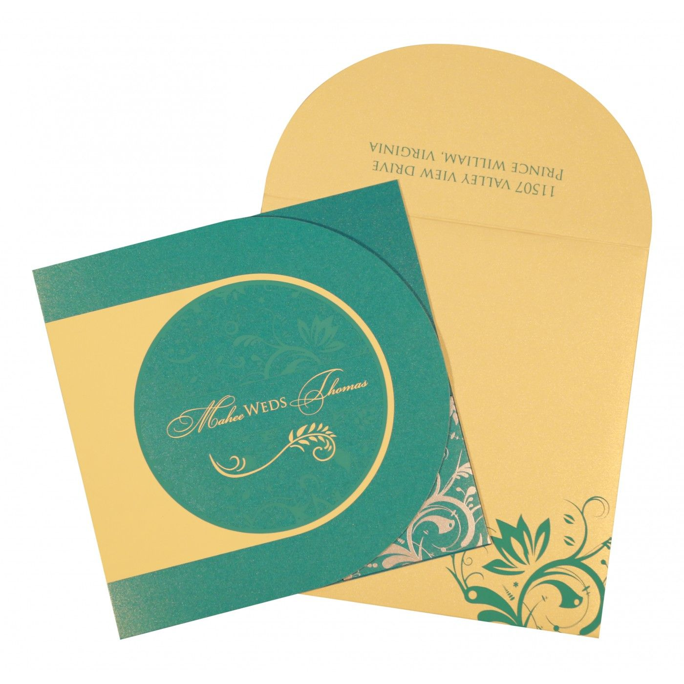 STRONG TURQUOISE SHIMMERY PAISLEY THEMED - SCREEN PRINTED WEDDING CARD : CS-8264C - IndianWeddingCards