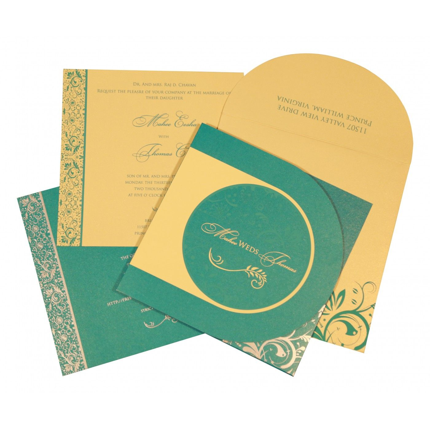 STRONG TURQUOISE SHIMMERY PAISLEY THEMED - SCREEN PRINTED WEDDING CARD : CW-8264C - IndianWeddingCards