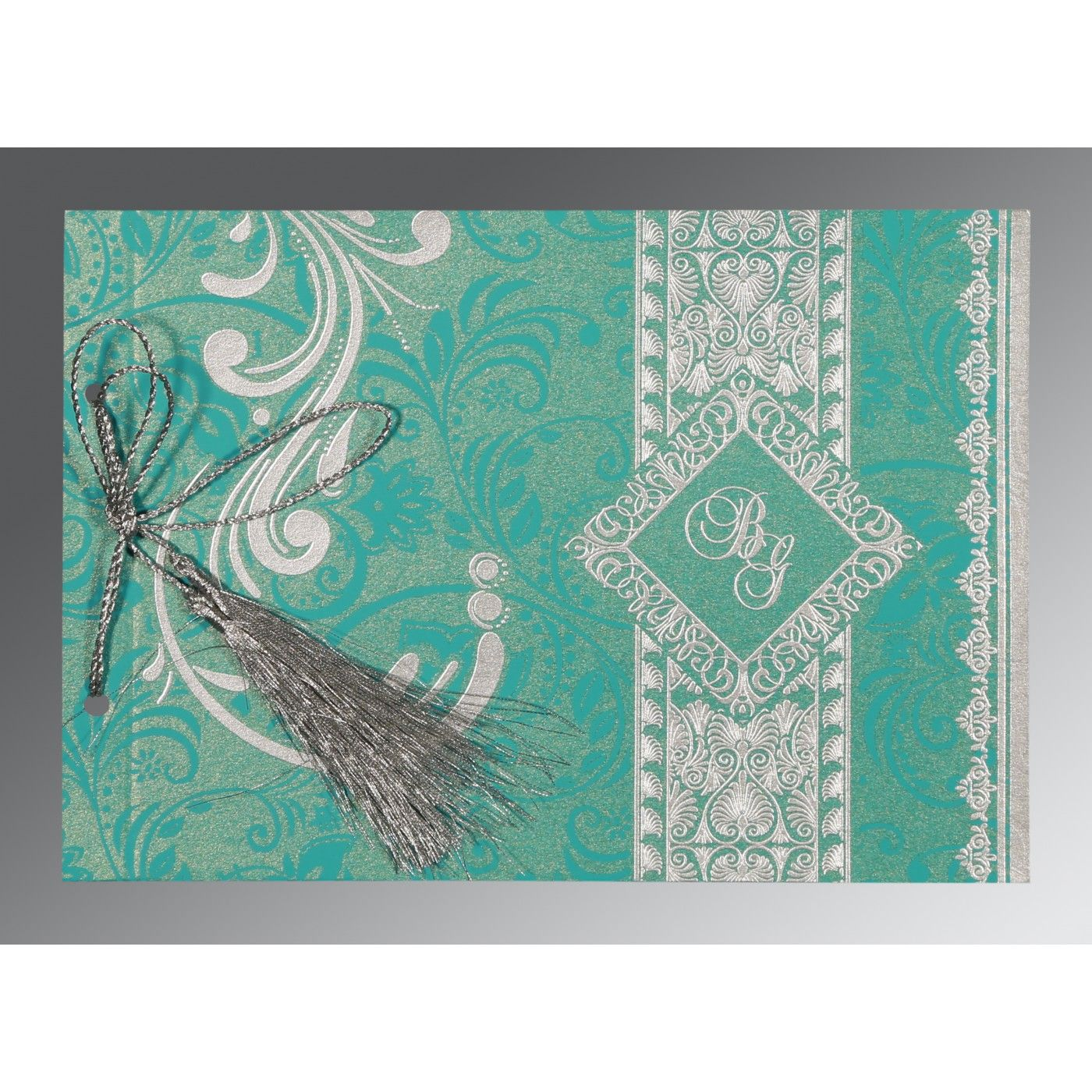 TURQUOISE SHIMMERY SCREEN PRINTED WEDDING CARD : CS-8223H - IndianWeddingCards