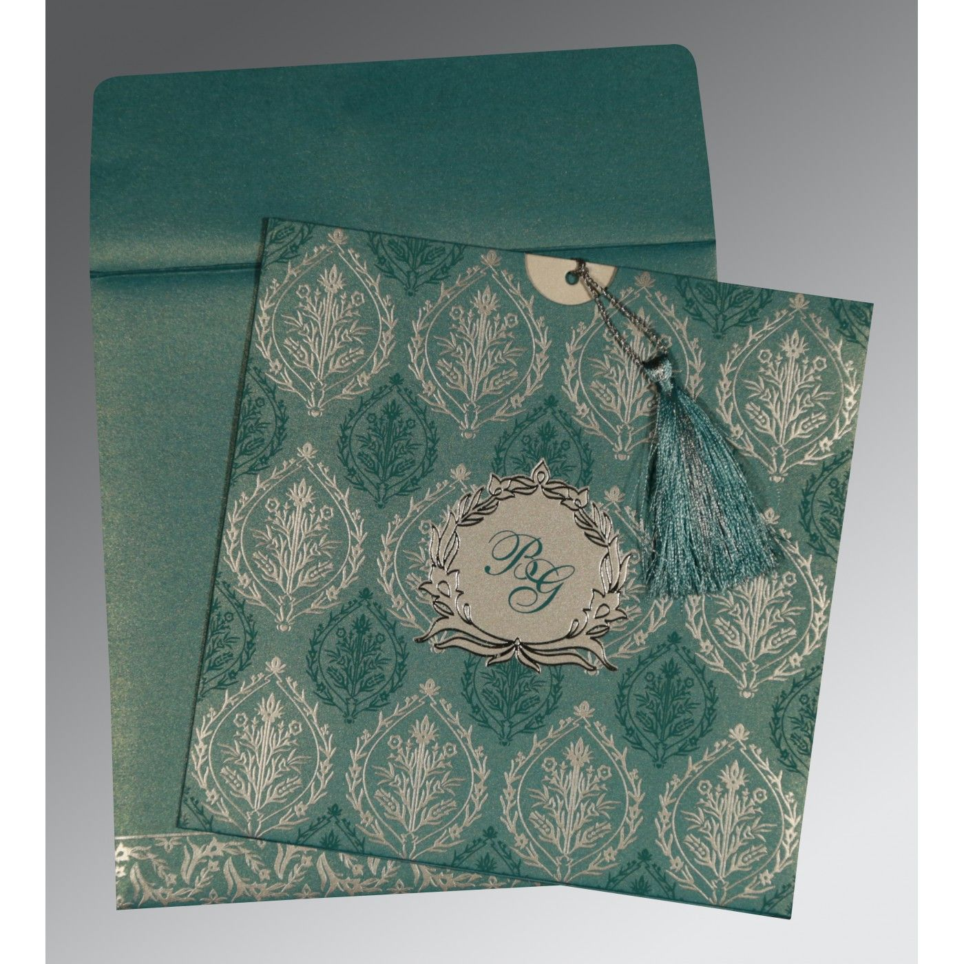 TEAL BLUE SHIMMERY UNIQUE THEMED - FOIL STAMPED WEDDING CARD : CD-8249D - IndianWeddingCards
