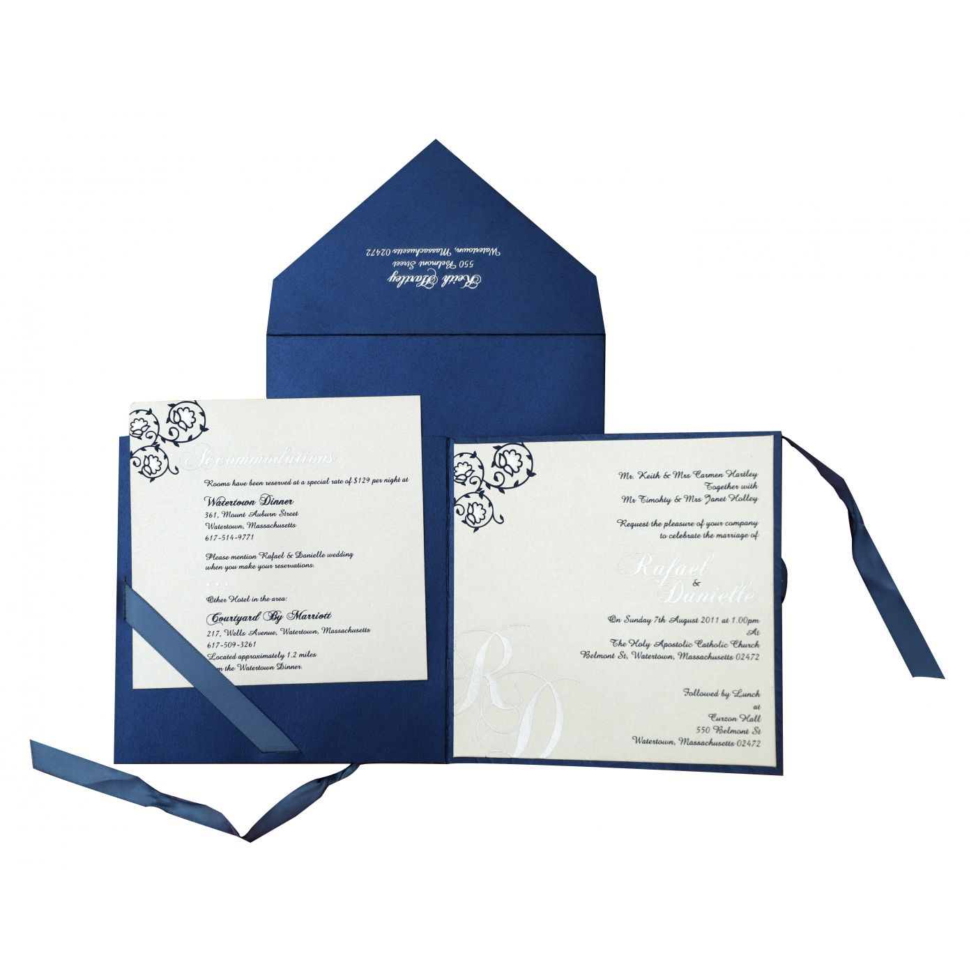 BLUE WHITE SHIMMERY FLORAL THEMED - FOIL STAMPED WEDDING INVITATION : CW-839 - IndianWeddingCards
