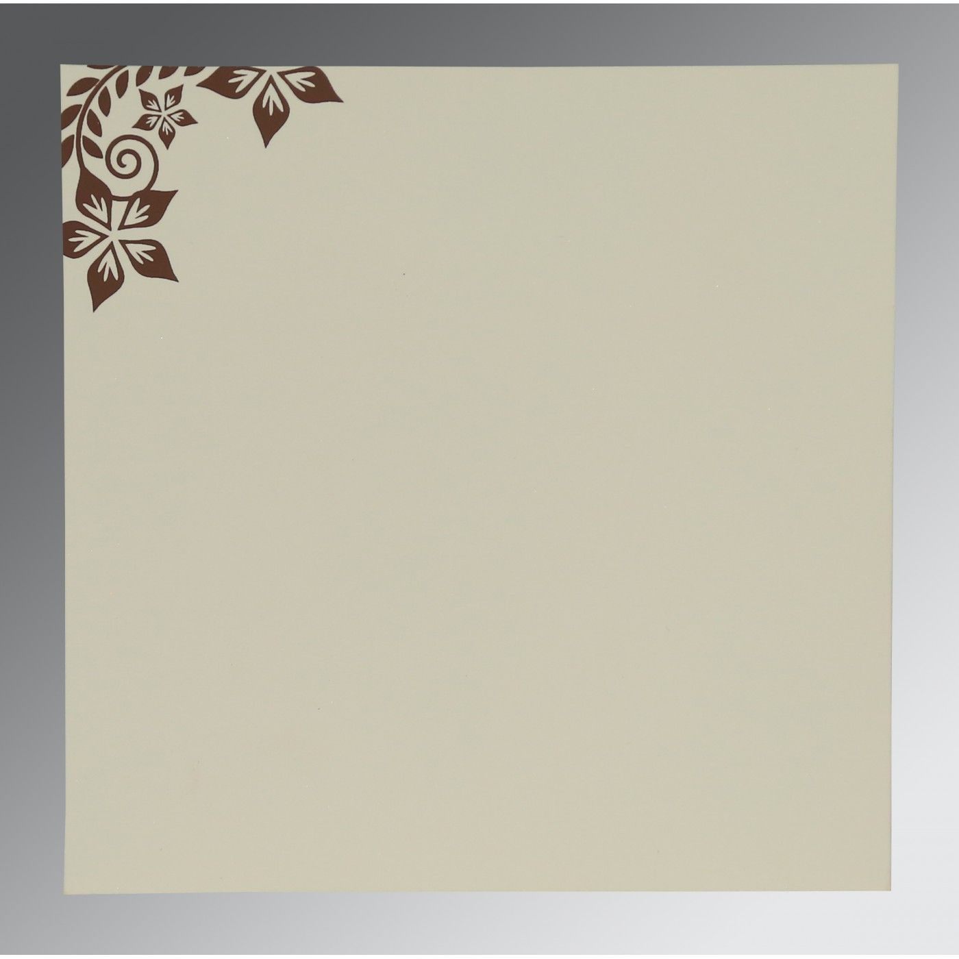 BROWN MATTE FLORAL THEMED - SCREEN PRINTED WEDDING INVITATION : CW-8240E - IndianWeddingCards