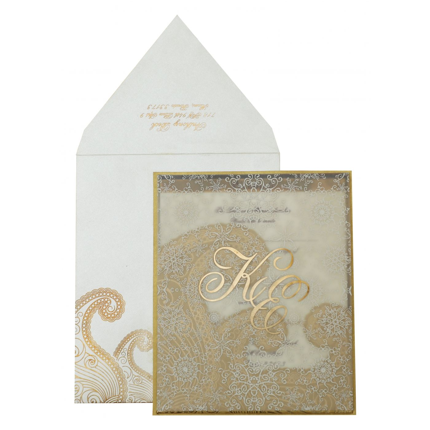 GOLD OFF-WHITE SHIMMERY PAISLEY THEMED - SCREEN PRINTED WEDDING INVITATION : CG-829 - IndianWeddingCards