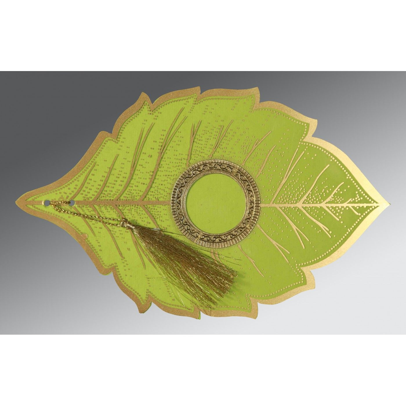 PARROT GREEN TRANSPARENT HANDMADE COTTON FLORAL THEMED - FOIL STAMPED WEDDING CARD : CRU-8219A - IndianWeddingCards