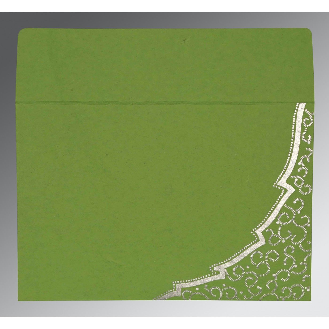 APPLE GREEN HANDMADE COTTON FLORAL THEMED - FOIL STAMPED WEDDING CARD : CW-8219J - IndianWeddingCards