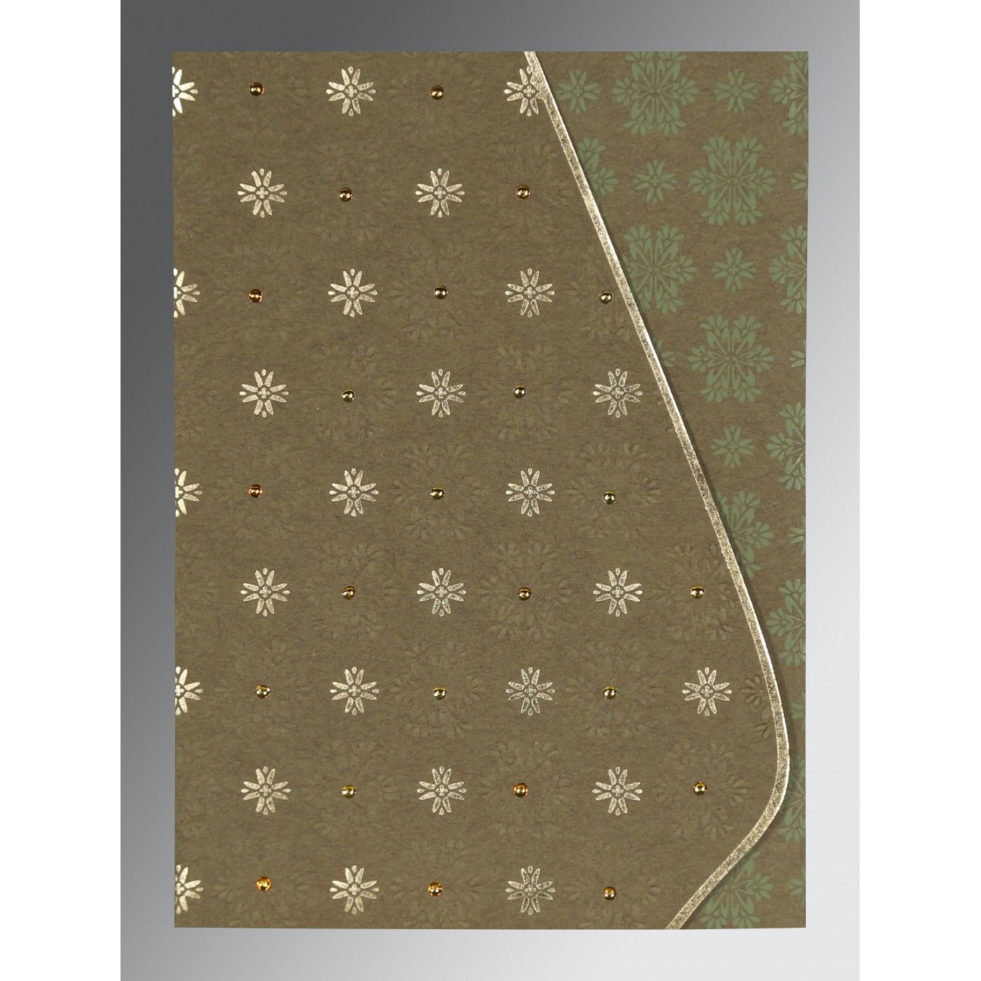 YELLOW METAL MATTE FLORAL THEMED - FOIL STAMPED WEDDING INVITATION : CG-8237E - IndianWeddingCards
