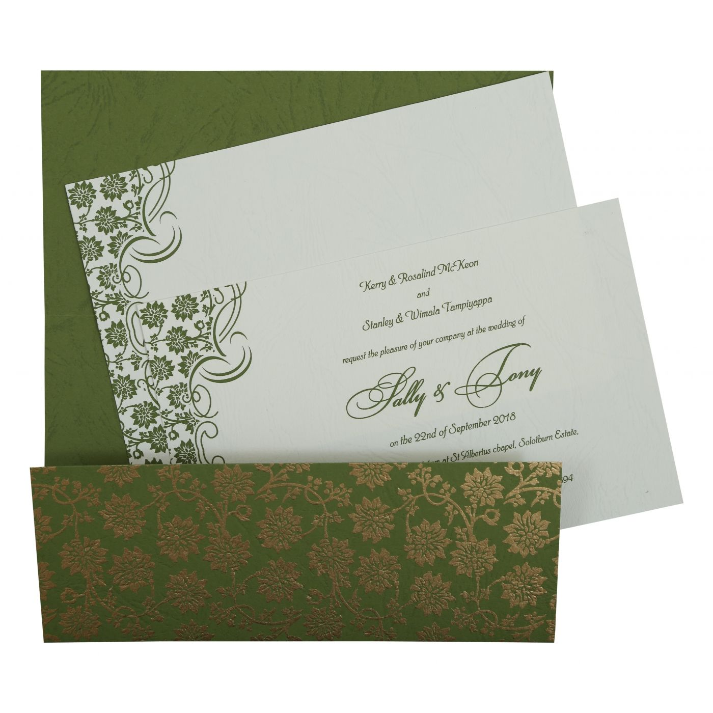 GREEN MATTE FLORAL THEMED - SCREEN PRINTED WEDDING INVITATION : CSO-810D - IndianWeddingCards