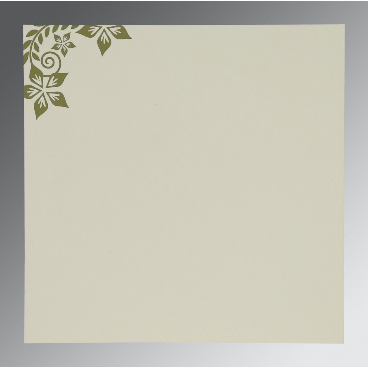 OLIVE GREEN MATTE FLORAL THEMED - SCREEN PRINTED WEDDING INVITATION : CD-8240F - IndianWeddingCards