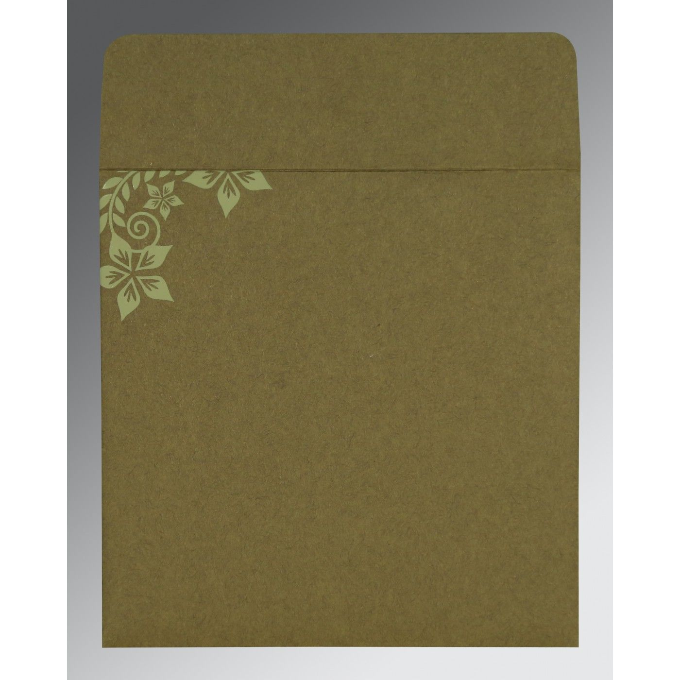 OLIVE GREEN MATTE FLORAL THEMED - SCREEN PRINTED WEDDING INVITATION : CG-8240F - IndianWeddingCards