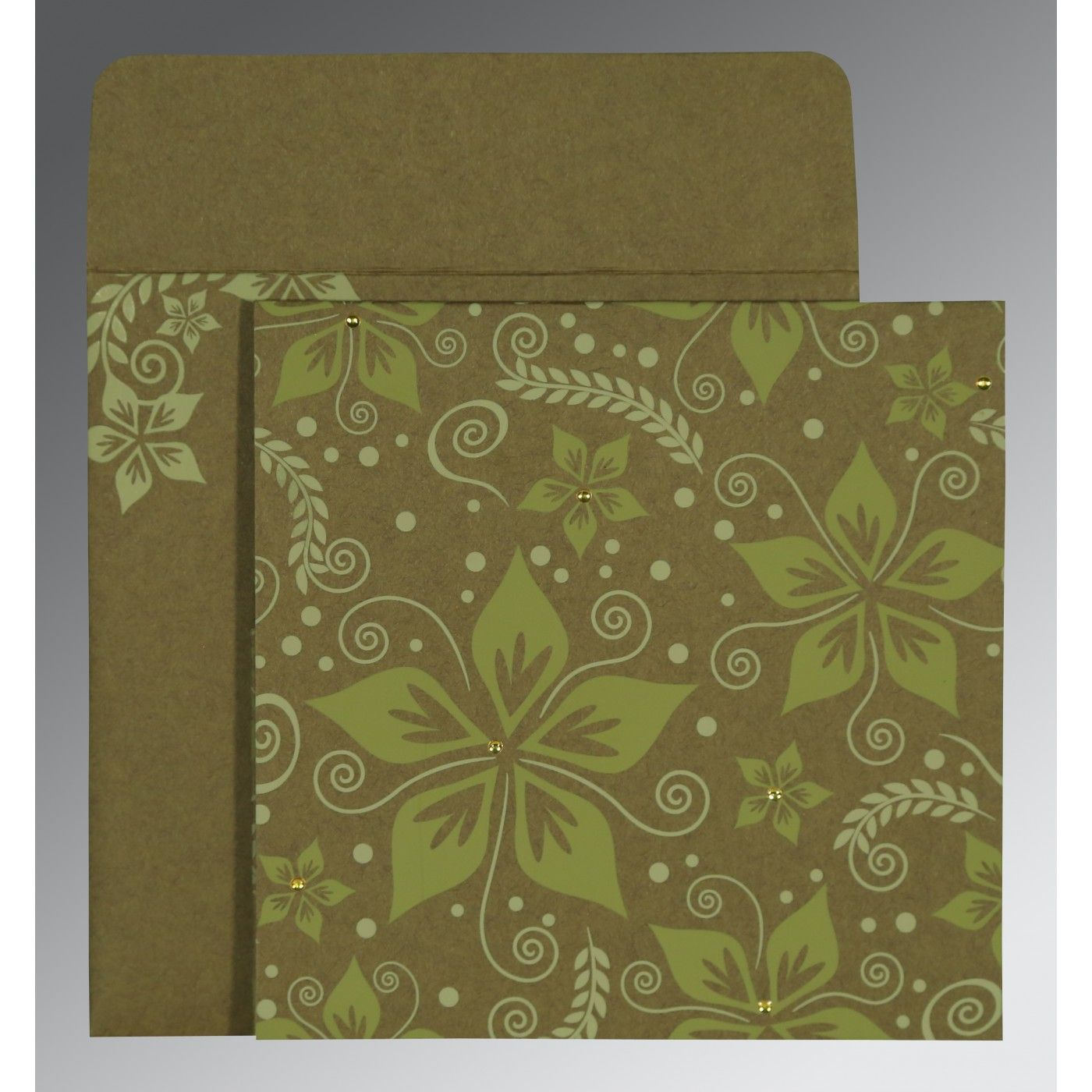 OLIVE GREEN MATTE FLORAL THEMED - SCREEN PRINTED WEDDING INVITATION : CW-8240F - IndianWeddingCards