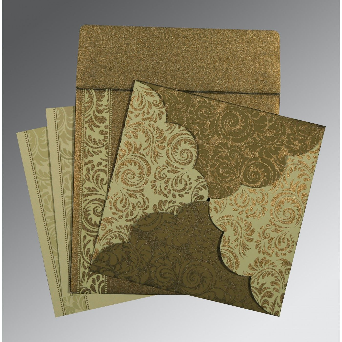 GREEN SHIMMERY FLORAL THEMED - SCREEN PRINTED WEDDING CARD : CW-8235A - IndianWeddingCards