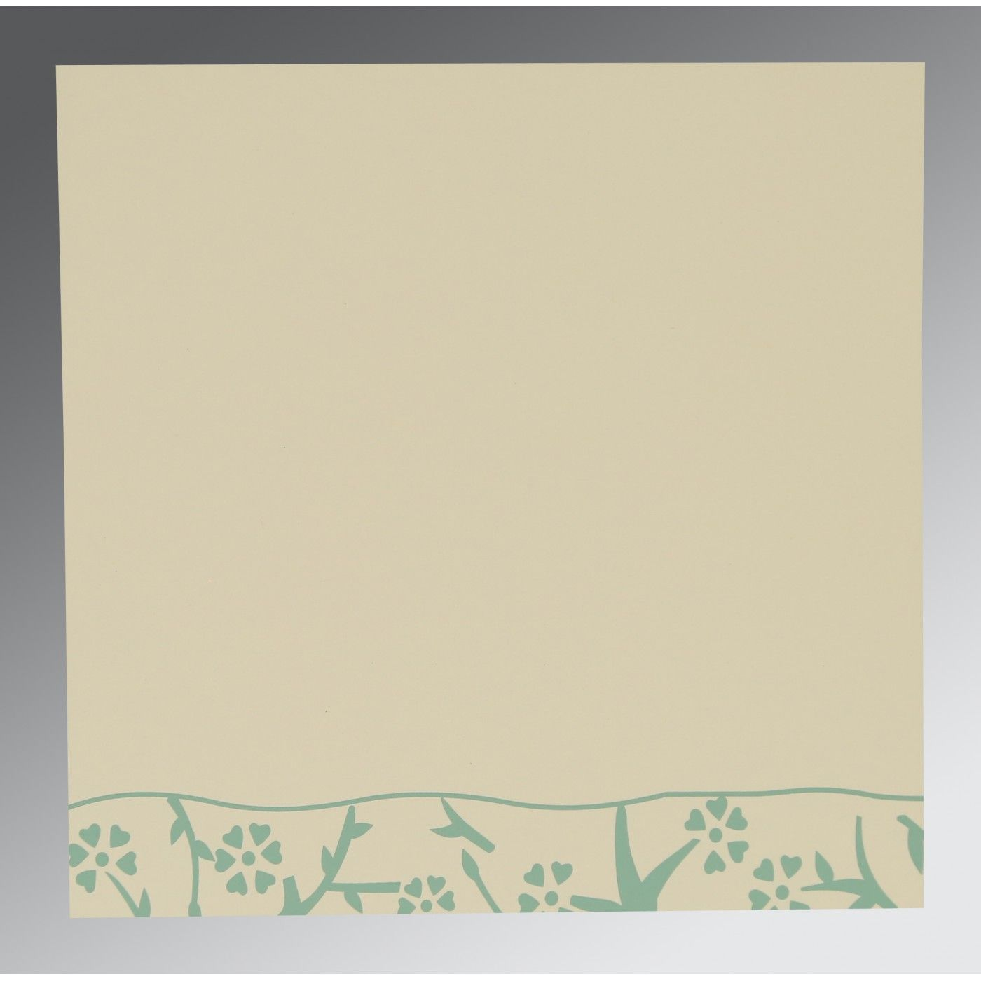 SAGE GREEN WOOLY FLORAL THEMED - SCREEN PRINTED WEDDING INVITATION : CD-8216F - IndianWeddingCards