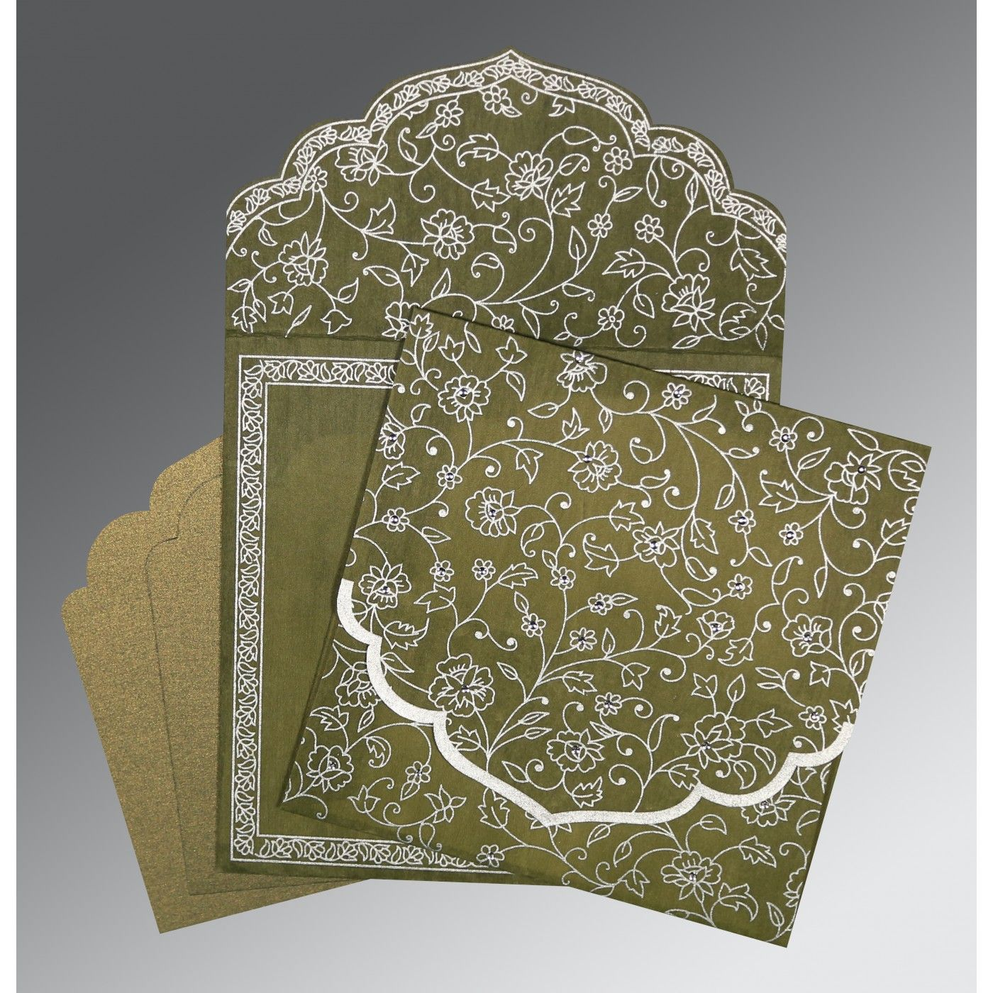 OLIVE GREEN WOOLY FLORAL THEMED - SCREEN PRINTED WEDDING INVITATION : CSO-8211M - IndianWeddingCards