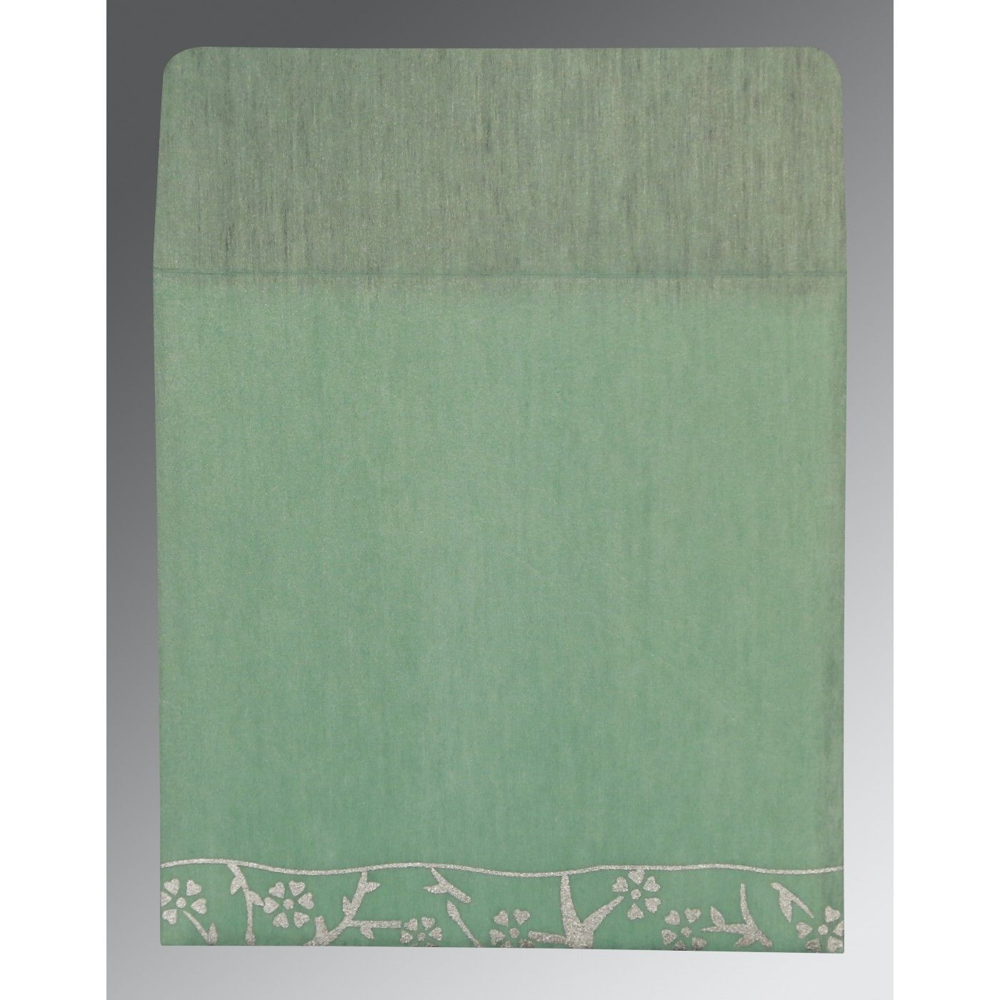 SAGE GREEN WOOLY FLORAL THEMED - SCREEN PRINTED WEDDING INVITATION : CSO-8216F - IndianWeddingCards