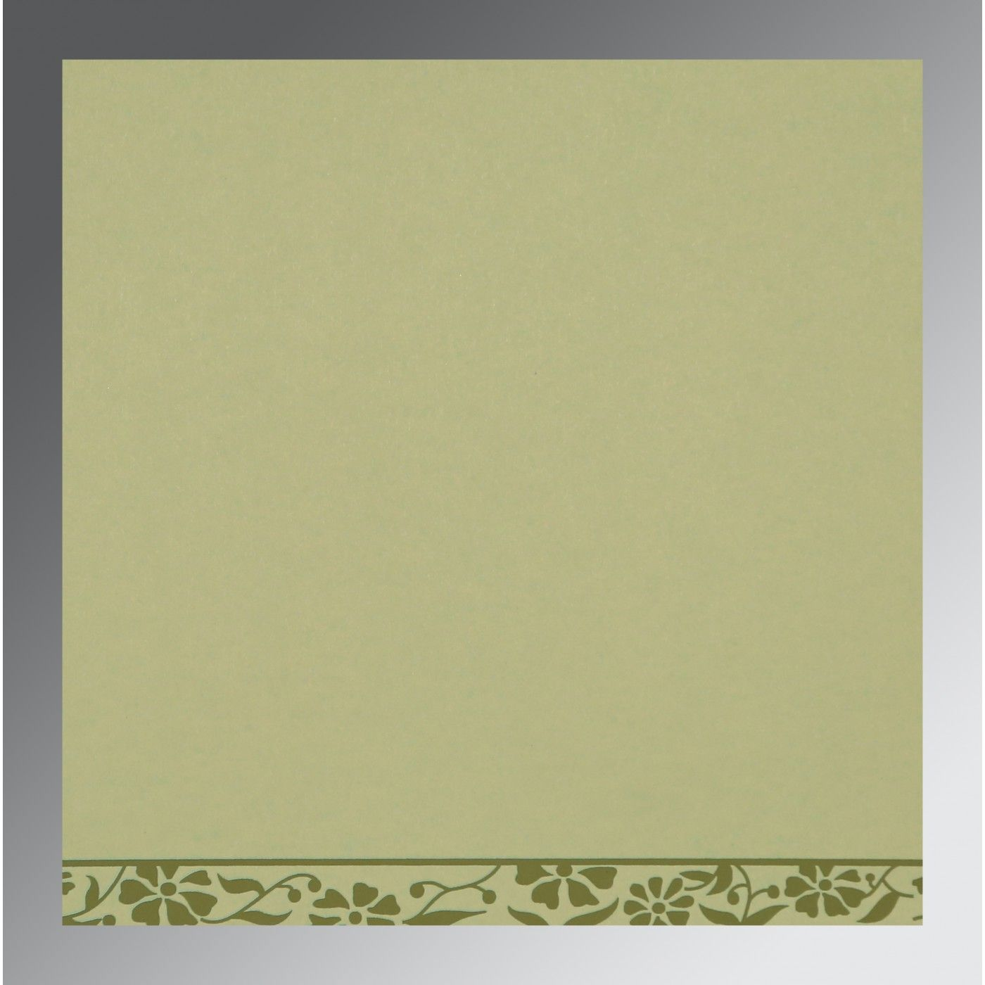 SAGE GREEN MATTE FLORAL THEMED - SCREEN PRINTED WEDDING CARD : CW-8222G - IndianWeddingCards